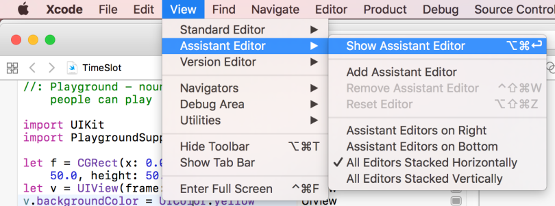 Show Assistant Editor in XCode